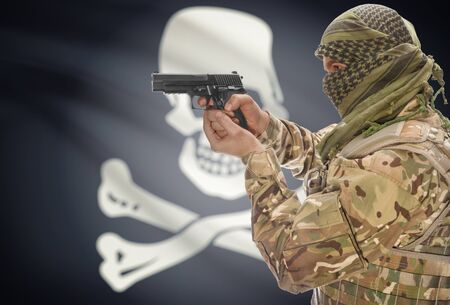 anti piracy: Male in muslim keffiyeh with gun in hand and flag on background series - Jolly Roger - symbol of piracy
