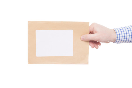 recipient: Delivering of letter to recipient (only one hand and parcel seen)