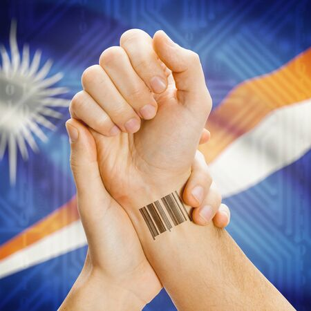 marshall: Barcode ID number on wrist of a human and national flag on background series - Marshall Islands