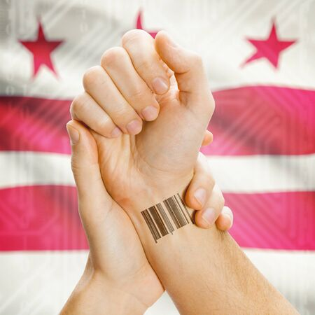 district columbia: Barcode ID number tatoo on wrist and USA statesl flag on background series - District of Columbia