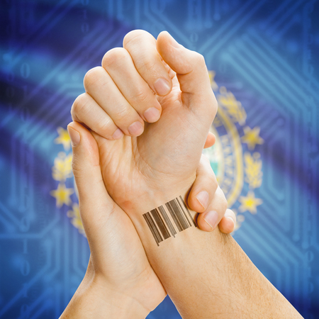 breaking the code: Barcode ID number tatoo on wrist and USA statesl flag on background series - New Hampshire