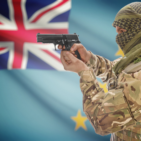 national police agency: Man with gun in hand and national flag on background series - Tuvalu