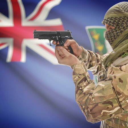 counterterrorism: Man with gun in hand and national flag on background series - British Virgin Islands