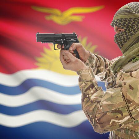 insurgency: Man with gun in hand and national flag on background series - Kiribati