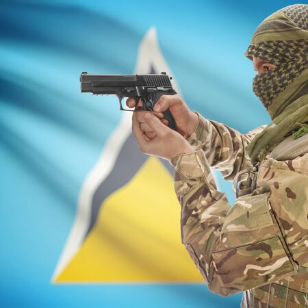 insurgency: Man with gun in hand and national flag on background series - Saint Lucia