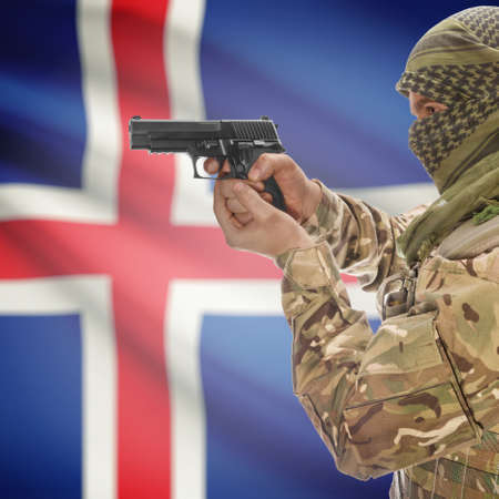 insurgency: Man with gun in hand and national flag on background series - Iceland