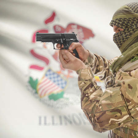 anti terrorist: Male with gun in hand and American state flag on background series - Illinois