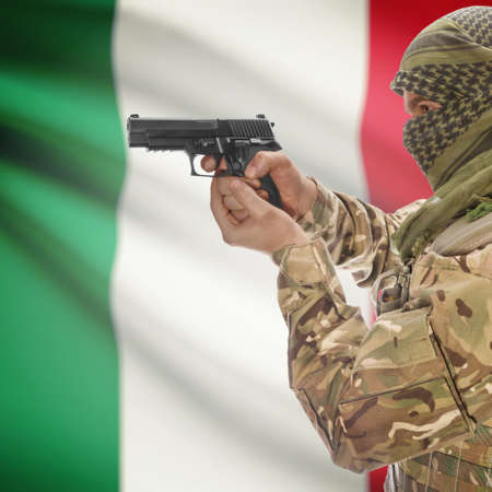 national police agency: Man with gun in hand and national flag on background series - Italy