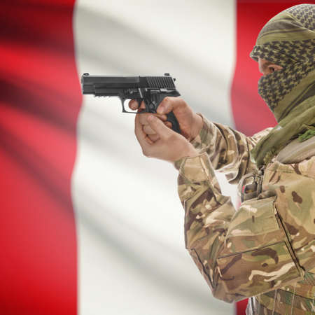 counterterrorism: Man with gun in hand and national flag on background series - Peru