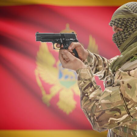insurgency: Man with gun in hand and national flag on background series - Montenegro