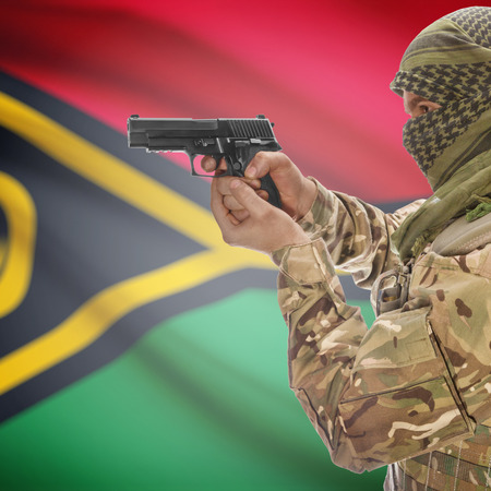 national police agency: Man with gun in hand and national flag on background series - Vanuatu