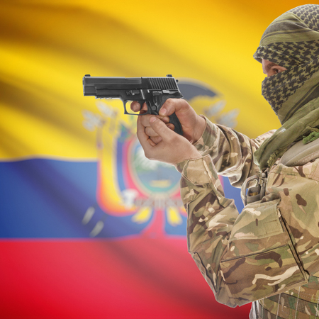 counterterrorism: Man with gun in hand and national flag on background series - Ecuador