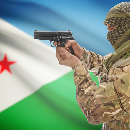 counterterrorism: Man with gun in hand and national flag on background series - Djibouti