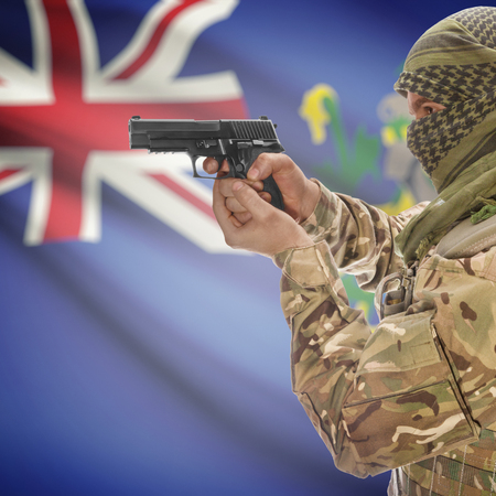 counterterrorism: Man with gun in hand and national flag on background series - Pitcairn Islands