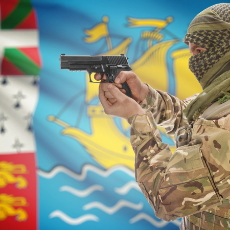 anti terrorist: Man with gun in hand and national flag on background series - Saint Pierre and Miquelon
