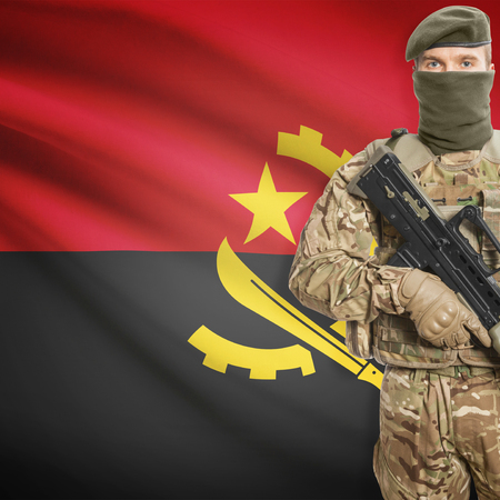 peacemaker: Soldier with machine gun and national flag on background series - Angola
