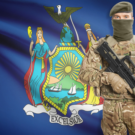 peacemaker: Soldier with machine gun and USA state flag on background series - New York