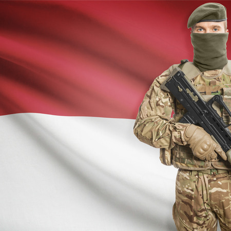 peacemaker: Soldier with machine gun and national flag on background series - Indonesia