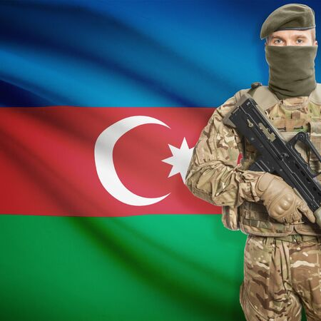 peacemaker: Soldier with machine gun and national flag on background series - Azerbaijan