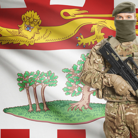 canadian military: Soldier with machine-gun in hands and Canadian province flag on background series - Prince Edward Island