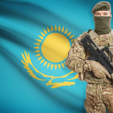 peacemaker: Soldier with machine gun and national flag on background series - Kazakhstan