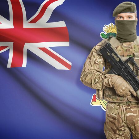 cayman islands: Soldier with machine gun and national flag on background series - Cayman Islands