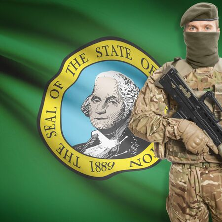 peacemaker: Soldier with machine gun and USA state flag on background series - Washington