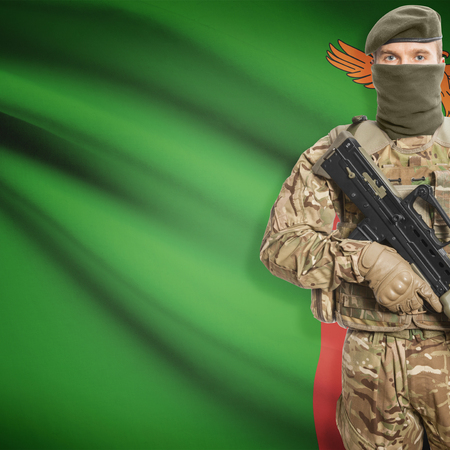 border patrol: Soldier with machine gun and national flag on background series - Zambia