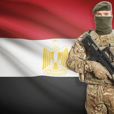 peacemaker: Soldier with machine gun and national flag on background series - Egypt