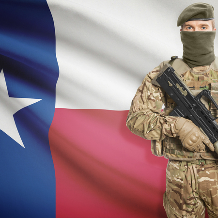 peacemaker: Soldier with machine gun and USA state flag on background series - Texas