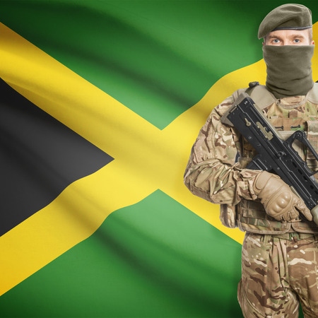 peacemaker: Soldier with machine gun and national flag on background series - Jamaica