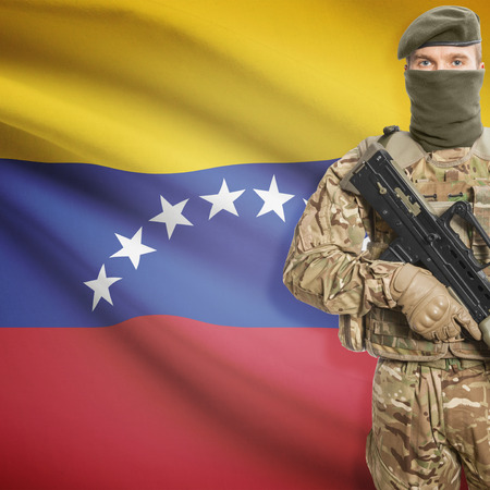 peacemaker: Soldier with machine gun and national flag on background series - Venezuela