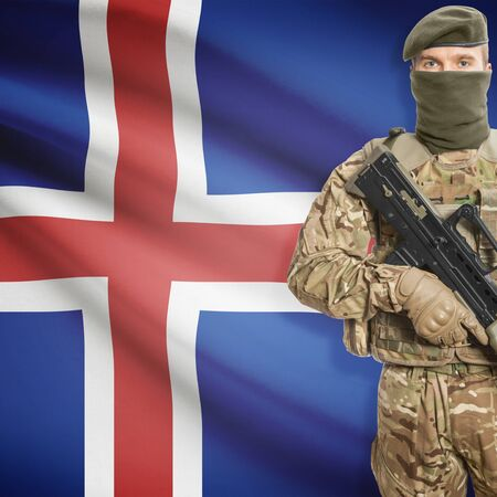 peacemaker: Soldier with machine gun and national flag on background series - Iceland