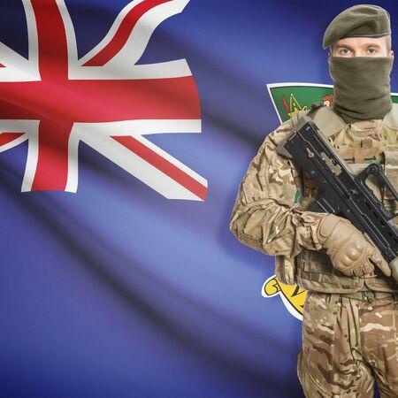 border patrol: Soldier with machine gun and national flag on background series - British Virgin Islands