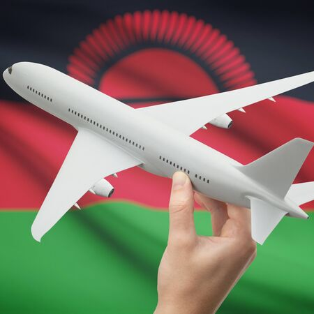 malawian flag: Airplane in hand with national flag on background series - Malawi Stock Photo