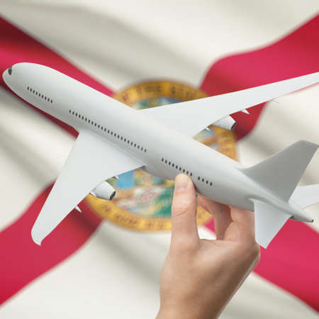floridian: Airplane in hand with local US state flag on background series - Florida