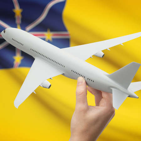 niue: Airplane in hand with national flag on background series - Niue Stock Photo