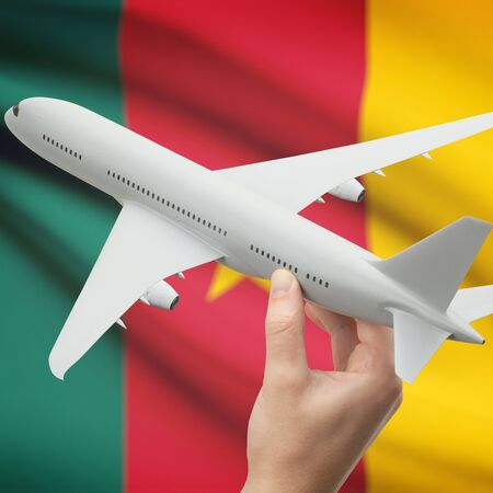 cameroonian: Airplane in hand with national flag on background series - Cameroon Stock Photo