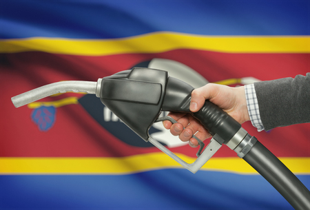 Fuel pump nozzle in hand with flag on background - Swaziland Stock Photo