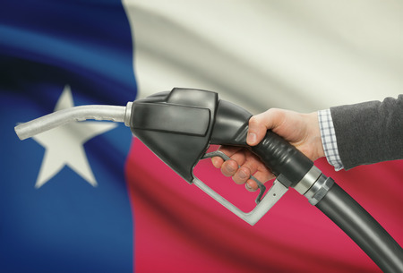 Fuel pump nozzle in hand with US states flags on background - Texas
