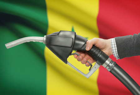 petrochemistry: Fuel pump nozzle in hand with flag on background - Senegal