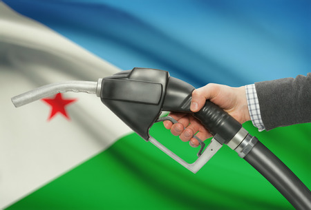 methanol: Fuel pump nozzle in hand with flag on background - Djibouti