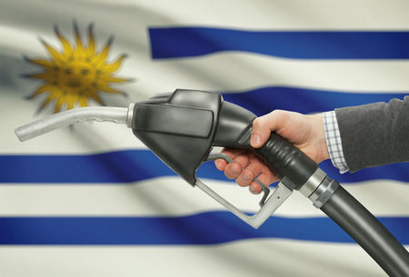 petrochemistry: Fuel pump nozzle in hand with flag on background - Uruguay Stock Photo