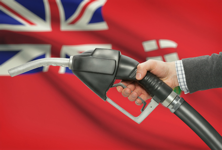 manitoba: Fuel pump nozzle in hand with Canadian territories and provinces flags on background - Manitoba Stock Photo