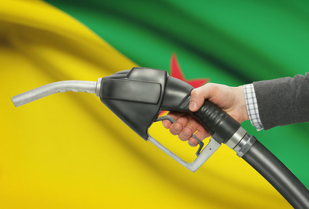 petrochemistry: Fuel pump nozzle in hand with flag on background - French Guiana