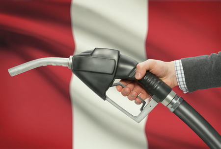 methanol: Fuel pump nozzle in hand with flag on background - Peru
