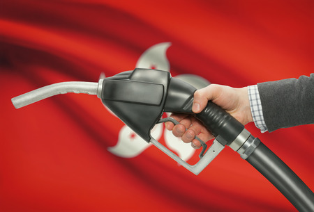 methanol: Fuel pump nozzle in hand with flag on background - Hong Kong Stock Photo