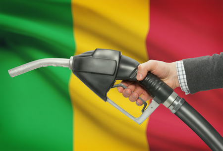petrochemistry: Fuel pump nozzle in hand with flag on background - Mali Stock Photo