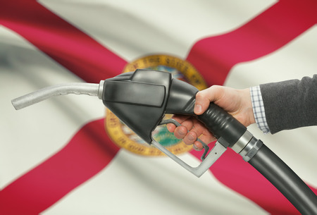 petrochemistry: Fuel pump nozzle in hand with US states flags on background - Florida Stock Photo