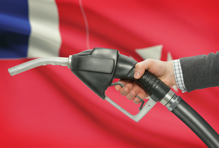 wallis: Fuel pump nozzle in hand with flag on background - Wallis and Futuna